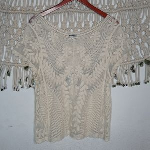 Express ivory mesh lace floral scalloped top